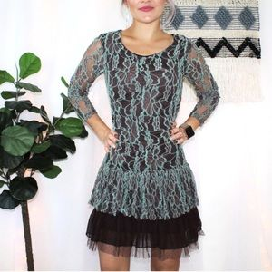 A'reve Lace Ruffle Tier Hem Dress in Brown & Teal